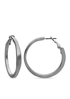 Kim Rogers Silver-Tone Medium Clutchless Hoop Earrings