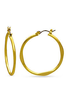 Kim Rogers Gold-Tone Flat Station Hoop Earrings