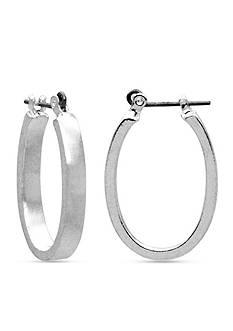 Kim Rogers Silver-Tone Oval Hoop Earring