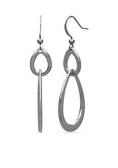 Kim Rogers Silver-Tone Double Open Teardrop Earrings