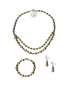Kim Rogers Gold-Tone Filigree Necklace, Bracelet and Earring Boxed Set