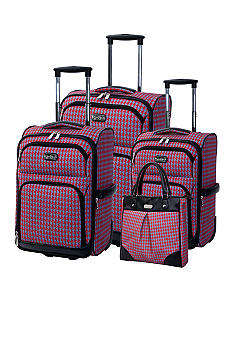 Jessica Simpson Houndstooth Luggage Collection- Red