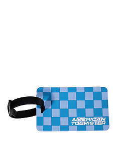 American Tourister Checks Luggage Tag - Teal