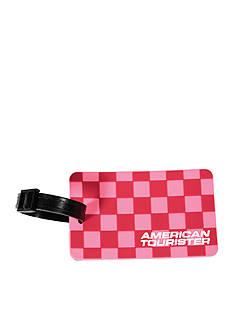 American Tourister Checks Luggage Tag - Cherry