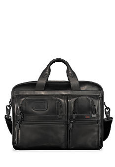 Alpha T-PassTM Expandable Organizer Laptop Leather Brief