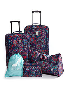 New Directions 5 Piece Luggage Set - Blue Paisley