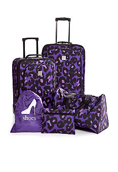 New Directions 5 Piece Luggage Set - Purple Leopard