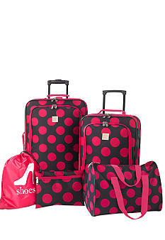 New Directions 5 Piece Luggage Set - Pink Dot