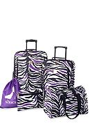 New Directions® 5 Piece Luggage Set - Black and Purple Zebra