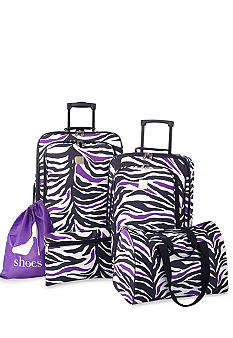 New Directions 5 Piece Luggage Set - Black and Purple Zebra