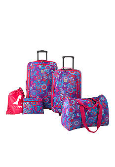 New Directions 5 Piece Luggage Set - Purple Paisley