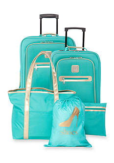 New Directions 5-Piece Turquoise with Gold Trim Luggage Set