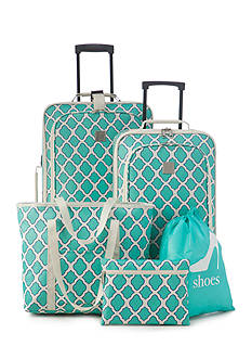 New Directions 5-Piece Turquoise Trellis Luggage Set