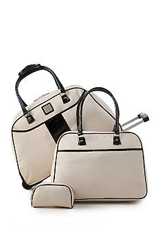 celine bag copy - New Directions 3-Piece Cream with Black Crocodile Trim Luggage ...
