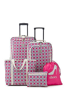 New Directions 5-Piece Pink Chain Print Luggage Set