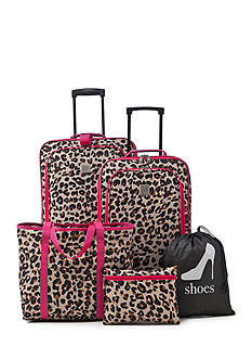 New Directions 5-Piece Cheetah Print Luggage Set