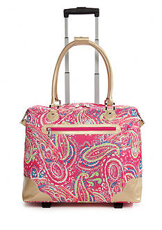 New Directions Pink Paisley with Gold Trim Rolling Tote