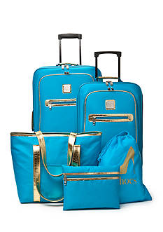 New Directions 5-Piece Turquoise with Gold Crocodile Trim Luggage Set