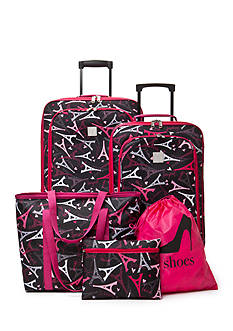 New Directions 5-Piece Pink Paris Luggage Set