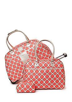 New Directions 3-Piece Coral Trellis Luggage Set