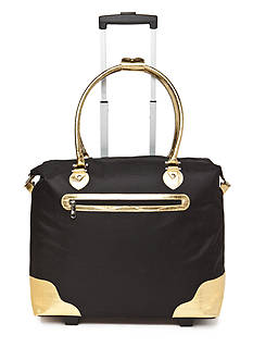 New Directions Black with Gold Crocodile Trim Rolling Tote