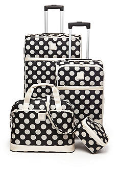 New Directions Jet Set 4-Piece Luggage Set - Black Stone Dot