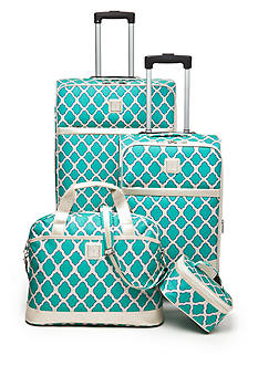 New Directions Jet Set 4-Piece Luggage Set - Aqua Trellis