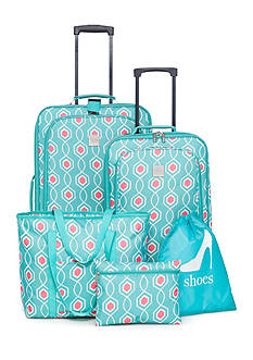 New Directions 5-Piece Aqua Coral Lattice Luggage Collection