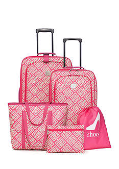 New Directions 5-Piece Pink Lime Greek Key Luggage Set