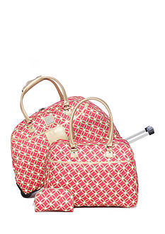 New Directions 3-Piece Pink & Lime Geo Circle Luggage Set