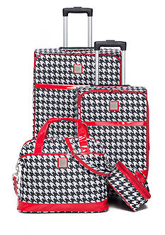 New Directions Jet Set Spinner 4-Piece Houndstooth Luggage Set