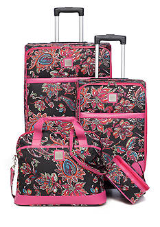 New Directions Jet Set 4-Piece Luggage Set - Black Multi Paisley