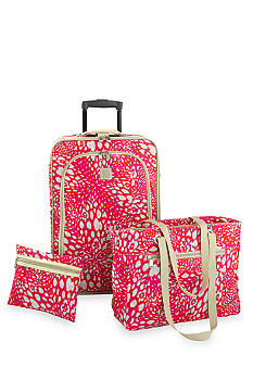 New Directions 3 Piece Luggage Set- Pink Animal