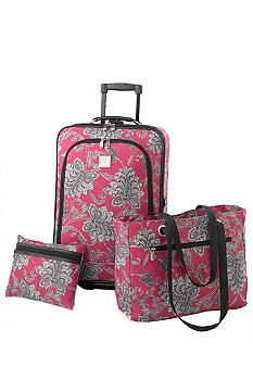 New Directions 3 Piece Luggage Set - Pink Floral Scroll