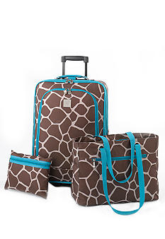 New Directions 3 Piece Luggage Set - Giraffe
