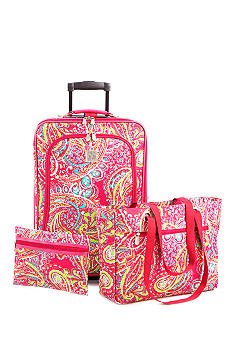 New Directions 3 Piece Luggage Set- Pink Paisley