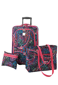 New Directions 3 Piece Luggage Set - Pink Multi Paisley