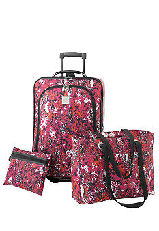 New Directions 3 Piece Luggage Set - Pink Snake