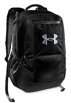 Under Armour Hustle Backpack in Black with Steel
