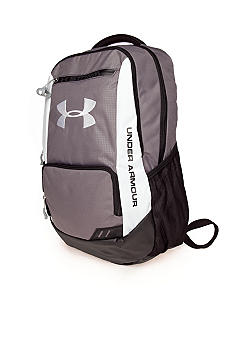 Under Armour Hustle Backpack in Graphite with White