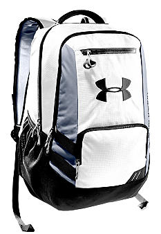Under Armour Hustle Backpack White with Black