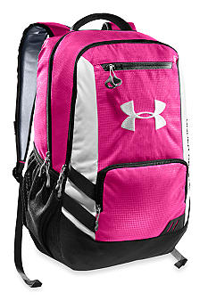 Under Armour Hustle Backpack in Pinkadelic with White