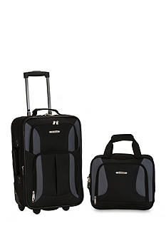 Rockland 2 Piece Luggage Set - Black Gray