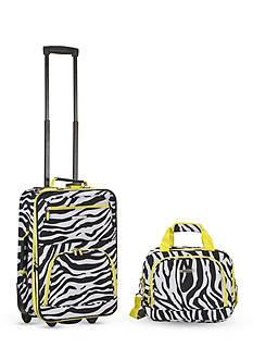 Rockland 2 Piece Luggage Set - Lime Zebra