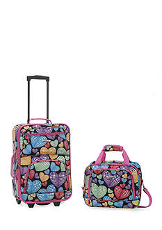 Rockland 2 Piece Luggage Set - Hearts
