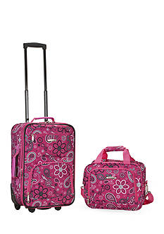 Rockland 2 Piece Luggage Set - Pink Bandana