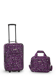 Rockland 2 Piece Luggage Set - Purple Leopard