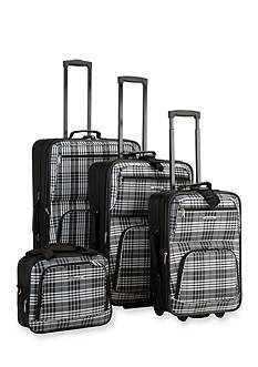 Rockland 4 Piece Printed Luggage Set - Black Cross