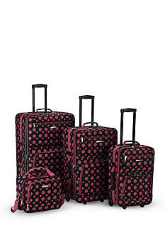 Rockland 4 Piece Printed Luggage Set - Black Pink Dot