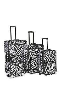 Rockland 4 Piece Printed Luggage Set - Black Zebra